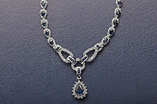 Designer $15,000 30ct Natural Blue Sapphire Diamond 14k White Gold Necklace 23g