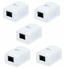 5x 1 port Cat5e Cat 5e Network/Internet Cable Wall Surface Mount Compact Box NEW