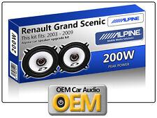 """Renault Grand Scenic Front Door speakers Alpine 13cm 5.25"""" car speaker kit 200W"""
