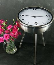 Clock Retro Coffee Table Small Round Side Stand Clear Glass Side Table Furniture