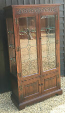 Old Charm Oak Display Cabinet / Glazed Bookcase Tudor Brown