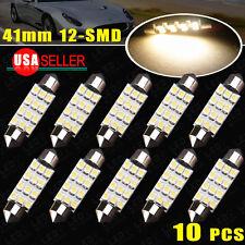 10pcs 4000K White Festoon 42MM 12-SMD Car LED Interior Dome/ Map Bulb Light Lamp