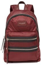 Marc Jacobs Womens Biker Zipper Trim Accent Nylon Backpack Bag Rubino Red NWT