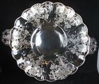 Clear Glass Serving Plate with handles embossed with silver/silverplate grapes