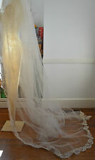 GORGEOUS VINTAGE ORGANZA AND ECRU LACE & TULLE VEIL WITH TRAIN – 70'S? RR89