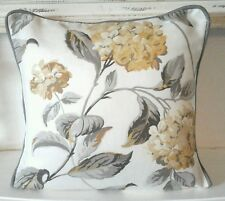 "cushion cover laura ashley fabric print  camomile   hydrangea 16""  grey  piped"