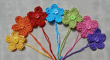 x7 Crochet Flowers RAINBOW Mix Appliqués Button Embellishments Decorations