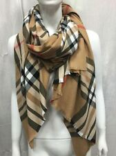 100% CASHMERE SCARF SCOTLAND OVERSIZED WRAP OR SCARF PLAID DESIGN BEIGE COLOR