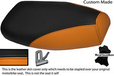 ORANGE TAN AND BLACK CUSTOM FITS PIAGGIO VESPA PX REAL LEATHER SEAT COVER