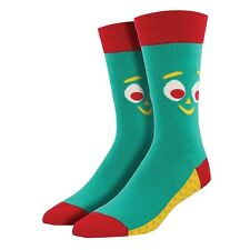 Gumby Face Green Crew Socks - Novelty Mens One Size Classic TV