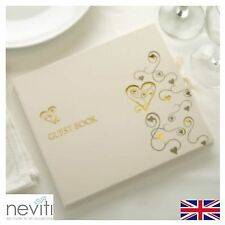 Ivory Wedding Guest Book With Gold Heart Design Albulm Neviti