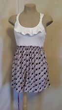 Cupids Diary Ruffle Brown Plaid, Top Floral Sundress, Size S