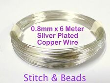 Silver Plated Jewellery Beading Wire 0.8mm x 6Meter 20 Gauge Metal Craft Finding