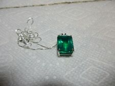 Large Russia Lab Created Emerald Pendant With Sterling Silver Necklace   # J112