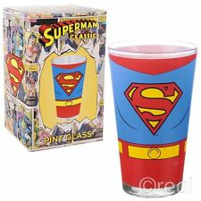 New DC Comics Classic Superman Costume Pint Glass Tumbler Official Licensed