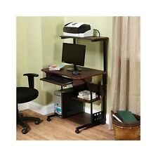 Small Computer Desk Mobile Table Keyboard Drawer Storage Shelves Home Office New
