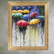 DIY 5D Diamond Embroidery Pouring Rain Painting Cross Stitch Crafts Home Decor