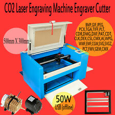50w CO2 Laser Engraving Cutting Machine /USB Interface+Auxiliary Rotary Device