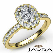 Cushion Cut Halo Pave Set Diamond Engagement Ring GIA F VS2 18k Yellow Gold 1Ct