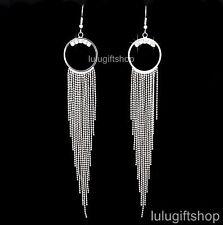 18K WHITE GOLD PLATED RING LONG DANGLE CHANDELIER EARRINGS USE SWAROVSKI CRYSTAL