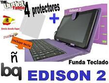 FUNDA TECLADO PARA TABLET Bq EDISON 2 Fnac 10 Color Morado + 4 Protectores