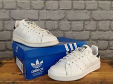 ADIDAS MENS UK 5 WHITE STAN SMITH LEATHER TRAINERS NAVY HEEL TAB