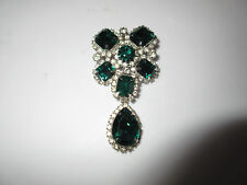 Brooch Signed Kramer Vtg Clear Diamante & Green Emerald Oblong Glass Rhinestones