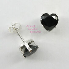 6mm Onyx Black HEART POST or STUD EARRINGS in SOLID 925 Sterling Silver Settings