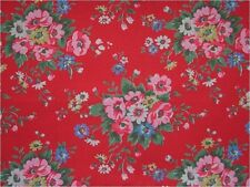 Shabby Retro Red Pink Blue Floral Folk Flowers Rose Vintage Cath Kidston Chic