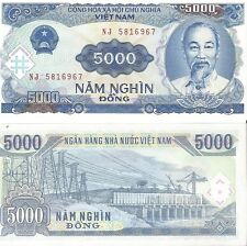Vietnam Viet Nam money 5000 Dong note showing Ho Chi Minh