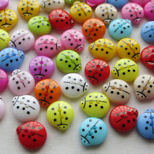 100PCS 13mm Cute Ladyburg Ladybird Buttons Plastic Sewing Kid's  Mix Lots