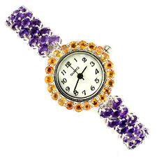 PRECIOUS! NATURALE VIOLA AMETHYST, Arancione Sapphire Dial MOP 925 Argento Watch 7ins