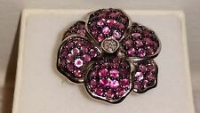 *WOW*Kim's Jewelers Sterling Silver Diamond & Pink Sapphire Flower Ring (Size 7)
