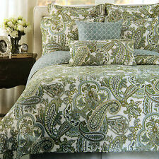 Bedspread 3PCS Set Cotton Quilted in Green, Blue, Brown Color Patterns King size