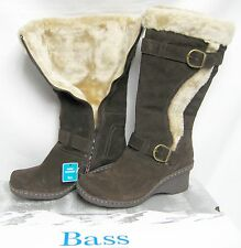 $149 BASS Suede Leather Faux Fur Knee High Water Proof Boots 11 M Women Shoes