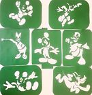 Pack of 7 x Disney's Mickey Mouse -1 Vinyl Tattoo Body Art Stencils Glitter