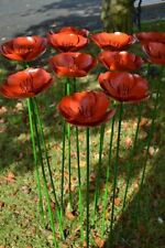 1.06m Tall Red and Green Poppy On Spike Garden Ornament