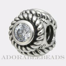 Authentic Chamilia Sterling Silver Rope Clear CZ Bead JC-3A *RETIRED*