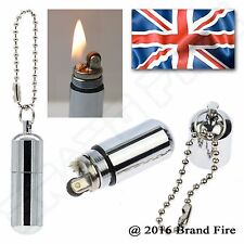 Survival Peanut Petrol Lighter  Capsule Fire Starter Flint Striker Emergency Kit