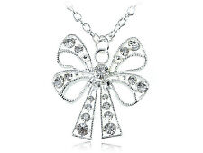 Clear Crystal Rhinestone Ribbon Bow Tie Costume Fashionable New Necklace Pendant