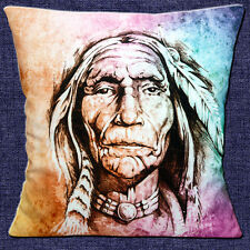 "NATIVE INDIAN MODERN PHOTO PRINT ORANGE PURPLE BLUE 16"" Pillow Cushion Cover"