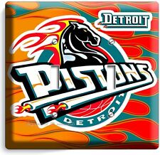 DETROIT PISTONS BASKETBALL TEAM DOUBLE LIGHT SWITCH WALL PLATE MAN CAVE ROOM ART