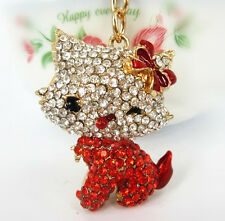 Body Red Butterfly Cute Charm Pendant Lovely Cat Crystals Key Chain Keyring Gift