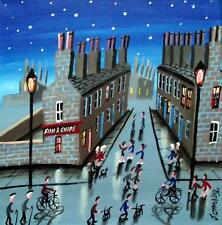 "Star Lit Street   : Original Northern Art Oil Painting : John Ormsby 12""X 12"""