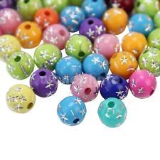 50X Abalorios Cuentas Bolas Para Hacer Manualidades Joyería Colores Surtidos