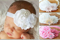 Baby Girl Headband Hairband Satin Chiffon Flower Christening Baptism Wedding