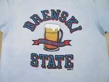 vintage 80s BREWSKI STATE MAGNA CUM ROWDY PAPER THIN T-Shirt MEDIUM beer cartoon
