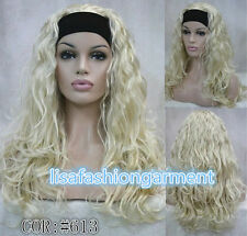 Fashion Ladies blonde curly 3/4 wig with headband womens wig + wigs cap