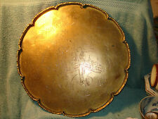 Vintage Round  Engraved Chinese Brass Tray  Ladies in Courtyard