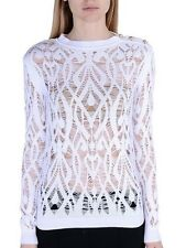 BALMAIN WHITE CROCHET SWEATER TOP FR 36 UK 8
